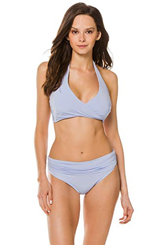 Heidi Klein Women's Body Wrap Halter Bikini Top Light Blue M