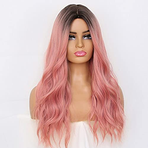 pelucas para mujeres,pelo sintético suelto Peluca degradado, sin pegamento rubia de 23 pulgadas de pelo largo natural c