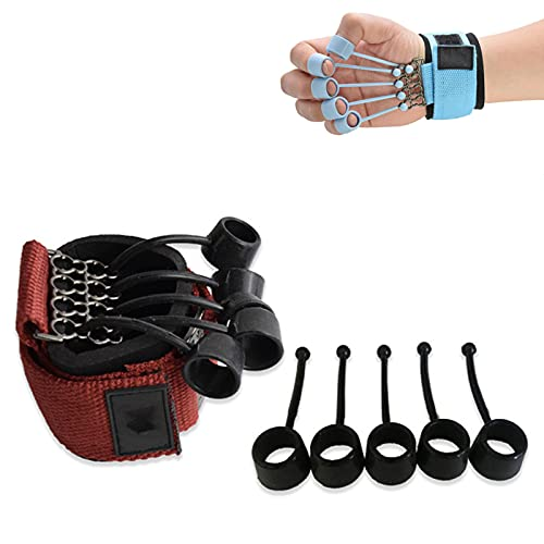 Finger Gripper Strength Trainer- Finger and Hand Extensor Exerciser Trainer, Hand Yoga Resistance Band Finger Expander for Relieve Wrist Thumb Pain (Red-60 LB)