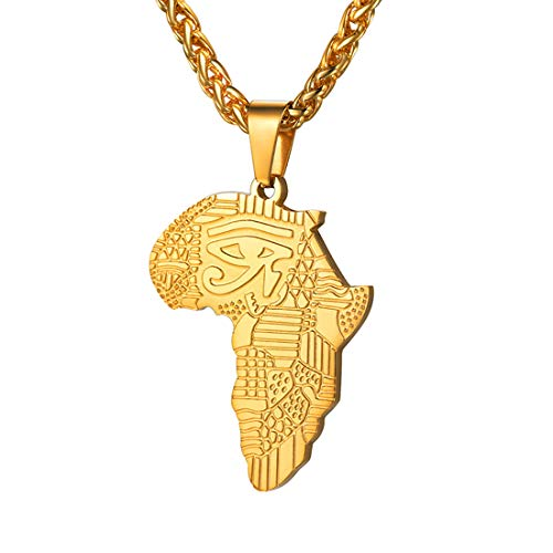 U7 Men Eye of Horus Necklace 18K Gold Plated Africa Map Pendant with Chain 22Inch