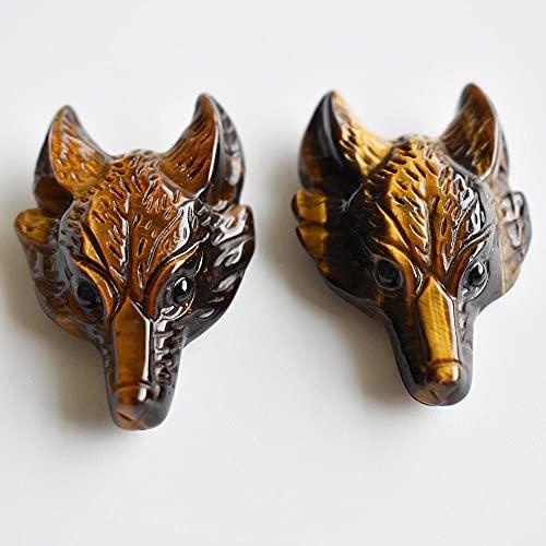 LiuliuBull 2 Teile/los Mode Gute Qualität Natürliche Tigerauge Stein Geschnitzte Wolf Kopf Form Anhänger für Halskette Schmuckherstellung