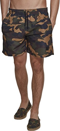 Urban Classics Herren Shorts Camo Swimshorts, Mehrfarbig (Wood Camo 00841), X-Large (Herstellergröße: XL)
