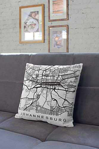 Lplpol Pillow South Africa Decor Johannesburg City Map Throw Pillow, Decorative Pillowcases For Couch For Home Couch Sofa Bedding 20x20 Inch