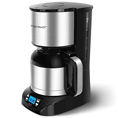 Aigostar Bonnie - Edelstahl Kaffeemaschine mit timer, 24H programmierbar, LCD Display, Warmhalteplatte, Abschaltautomatik, Tropfstopp, 800W, Filterkaffeemaschine mit Thermokaraffe, 10 Tassen, 1,2 L
