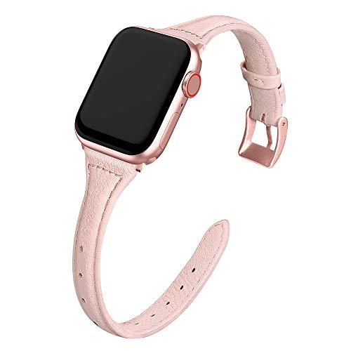 MARGE PLUS Compatible Apple Watch Band 42mm 44mm Women, Slim Genuine Leather Watch Strap Replacement for iWatch SE Series 6 5 4 3 2 1, (Pink Band paired with Rose Pink Adapter)