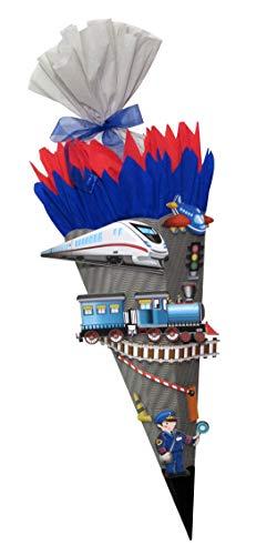 Schultüte Bastelset Eisenbahn/Zug - Zuckertüte - aus 3D Wellpappe, 68cm hoch