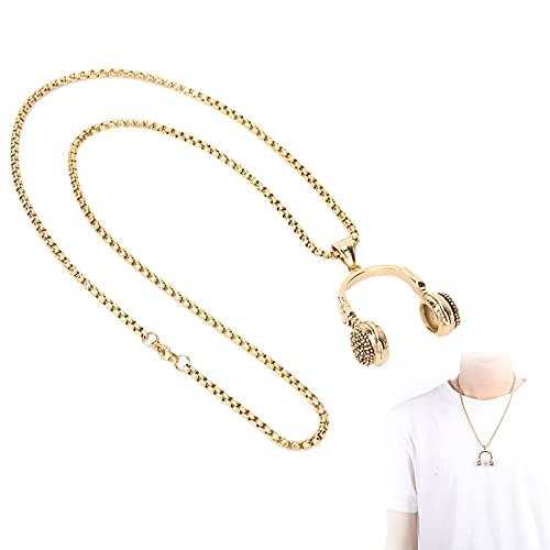 Collar con colgante, collar vintage, acero de titanio, estilo punk vintage, forma de auricular para esposo, papá