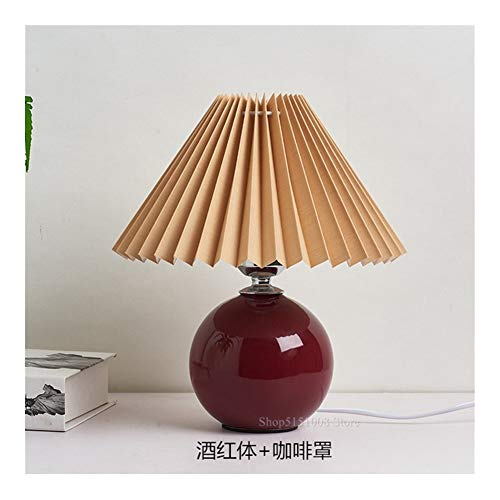 ISDY Light Simple ceramic table lamps bedroom bedside lamp Ambient Light Pleated skirt lampshade home art deco lights nightstand Lighting (Lampshade Color : Red wine and coffee)