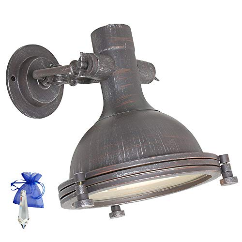Wandlamp industrieel design zwart grijs 1-vlg. Vintage industriële wandlamp Retro voor E27 LED en gloeilamp 7967B + Giveaway