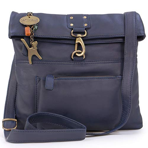 Catwalk Collection Handbags - Vera Pelle - Borse a Tracolla/Borsa a Mano/Messenger/Borsetta Donna - Con Ciondolo a Forma di Gatto - Dispatch - BLU SCURO