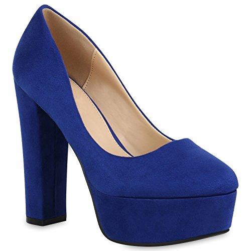 Damen Schuhe Plateau Pumps Veloursleder-Optik High Heels Blockabsatz 154284 Blau 40 Flandell
