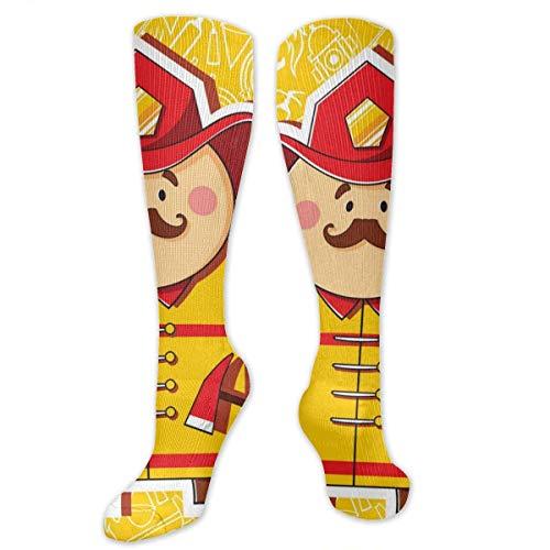 Inner-shop Firefighter Fashion Bequeme und weiche Kompressionsstrümpfe für Männer und Frauen Advanced Moisture Wicking Crew Socken für Working Family Sports Dress oder Cosplay, Socken