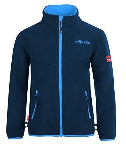 Trollkids Kinder Oppdal XT Fleece Jacke, Marineblau / Mittelblau, Größe 110
