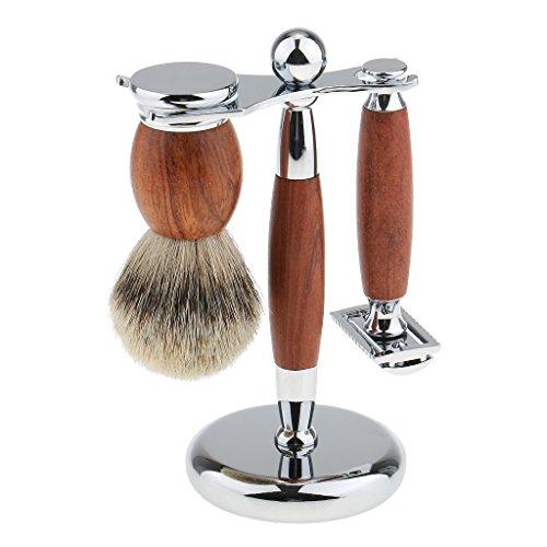 Sharplace Kit Rasage Homme en Acier Inox et Palissandre Qualité Haut de Gamme Brosse à Raser en Poils Blaireau + Rasoir à Barbe + Support Stand