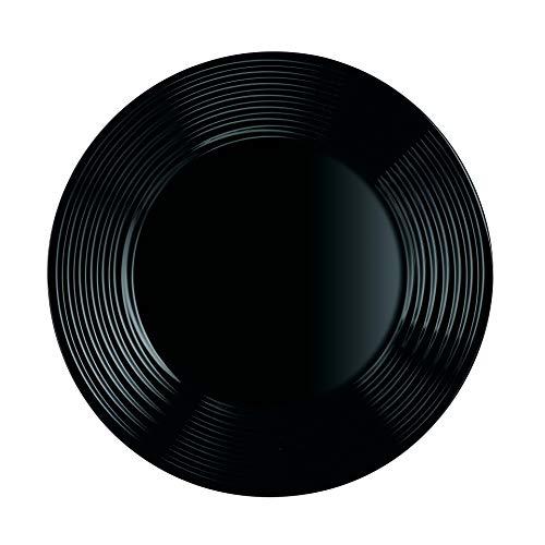 ARCOROC ARC L7613 Harena Teller flach, 19 cm, Opalglas, schwarz, 6 Stück