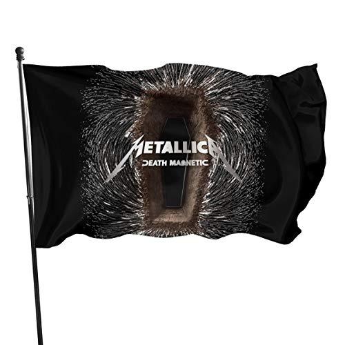 N/ Bandera oficial de Metallica James Hetfield, bandera de poliéster con cruz de hierro, 7,6 x 12,7 cm