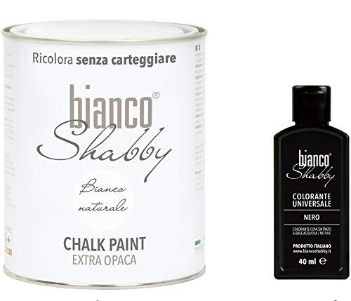BIANCO SHABBY INVENTA COLORE - Chalk Paint Bianco Naturale + Colorante per Chalk Paint (Nero)