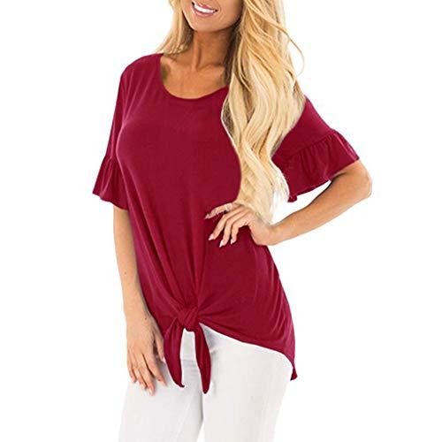 Deelin dames t-shirt, casual, met strik, ronde hals, korte mouwen, effen