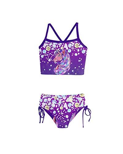 PattyCandy Holiday Bikini Unicorn Shine Diamond Girls Tankini Swimsuit - 12