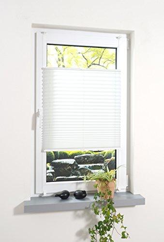 Liedeco® Plissee verspannt mit Klemmträger / 75 x 130 cm weiß (Breite x Höhe) / lichtdurchlässig Blickdicht stufenlos verstellbar/leichte Innen-Montage ohne Bohren/hochwertiges Plissee zum Klemmen
