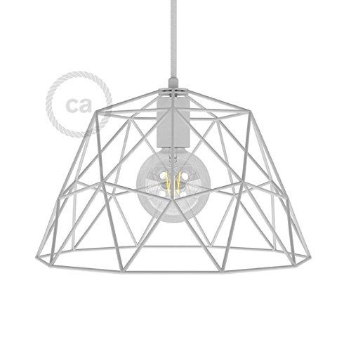 creative cables Gabbia XL Paralume Nudo Dome in Metallo con portalampada E27 - Bianco