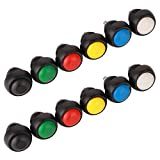 GTIWUNG 12 Pièces 12mm Boutons Poussoir de Réinitialisation, Lockless Momentané Bouton Poussoir On-Off,Push Button Switch, Mini Bouton Poussoir Interrupteur,Ronds,Rouge/Vert/Jaune/Bleu/Noir/Blanc