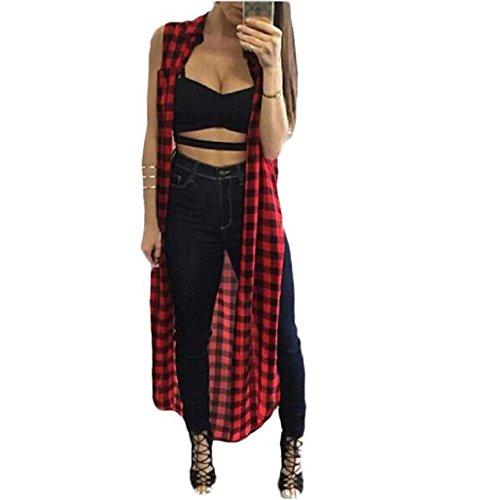 Sannysis Cárdigan Mujer, Kimono Largo, sin Mangas, Color tartán Rojo (L)