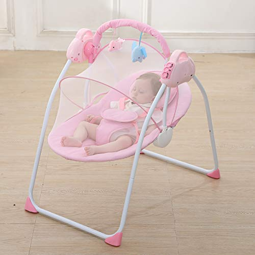 Best Buy! CBBAY Baby Electric Cradle Bassinet Bed Newborn Crib Rocking Sleeping (Pink)