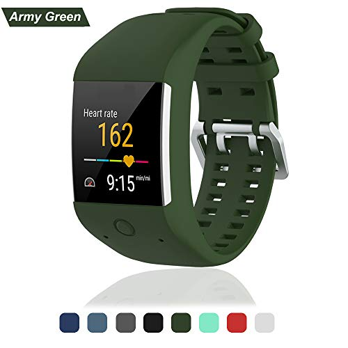 Bemodst Uhrenarmband für Polar M600 Ersatzarmbände, Ersatz Silikon Uhr Armband Uhrenarmbänder Handschlaufe für Polar M600 Uhr Gurtr, Armee-grün