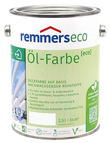 Remmers Öl-Farbe Eco Holzfarbe für Innen und Außen (2,5L, Weiss Ral 9016)