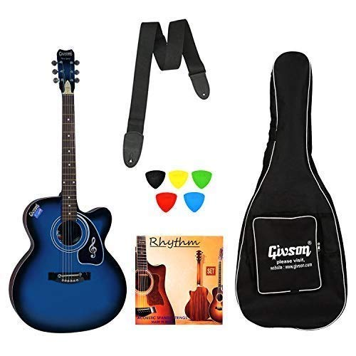 Givson Ketostics VS-BU Guitar Combo (BLUE) Acoustic Guitar With Cover/Bag, String Set, Strap and 5 Plectrums
