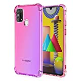 FANFO Funda para Samsung Galaxy M31S/M21, Color Degradado Transparente TPU Carcasa Ultradelgado Antimanchas Silicona Case Compatible Carga Inalámbrica Cover, Rosado/Morado