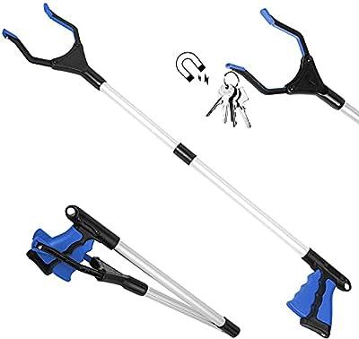 "ZOJI Reacher Grabber Tool, 32"" Foldable Pickup Tool, Lightweight Aluminum Reaching Aid with Rotating Rubber Gripper, Long Arm Extender for Elderly, Litter Trash Picker, Garden Gripper Blue"