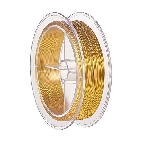 BENECREAT 60m 0.5mm Alambre de Cobre Cable Metálico Alambre de Bisutería para Diseño de Joya Manualidad de Artesanía Dorado