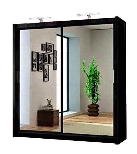 Milan Modern Double Full Mirror sliding door wardrobe with 2 LED Light Width 100cm/120cm/150cm/180cm/203cm/250cm(150cm, Black)