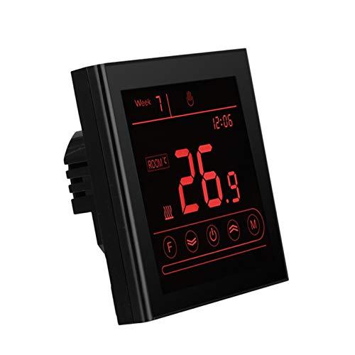 Controladores de temperatura de visualización digital Controlador de temperatura, termostato inalámbrico para calderas eléctricas, de agua y gas. ( Color : Black , Voltage : MK 70GB WiFi 16A )