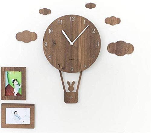 Fashion Classic Wall Clocks for Home and Office Swing creative wall clock living room simple personality clock children's bedroom mute cute wall clock, light brown-WEIQI Wall Art Decora