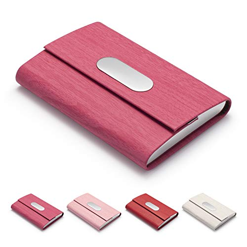 FACATH Business Card Holder, PU Leather Slim Business Card Case - Business Card Carrier ID Case/Wallet Pocket Business Name Card Holder for Women and Men - Rose Red