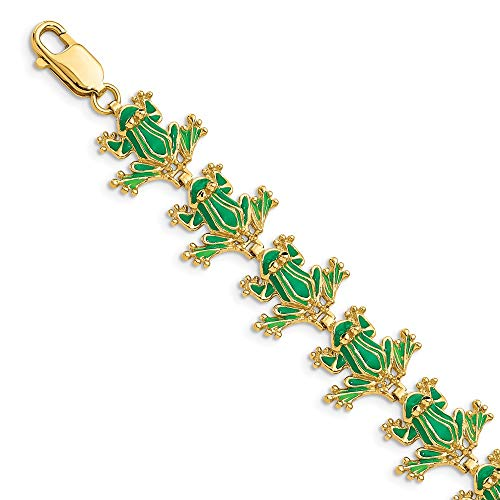 14k Yellow Gold Green Enamel Frog Bracelet 7.25 Inch Animal Fine Jewellery For Women Gifts For Her