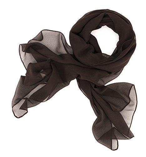 Dolce Abbraccio Damen Schal Stola Halstuch Tuch aus Chiffon für Frühling Sommer Ganzjährig (Dunkelbraun)