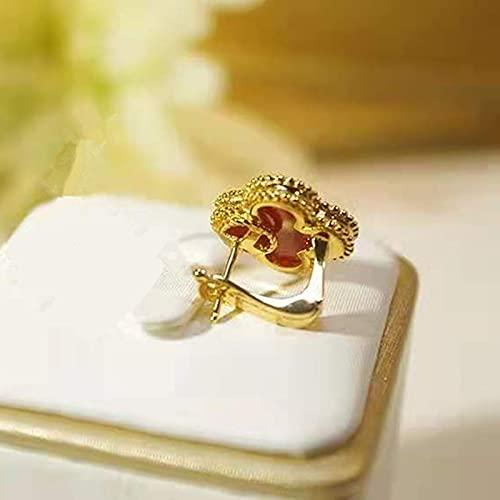 MALAT Pendientes de Mujer de Piedra de Concha Blanca de Flores Populares Europeas y Americanas Dulce-Negro, Color Oro Rosa
