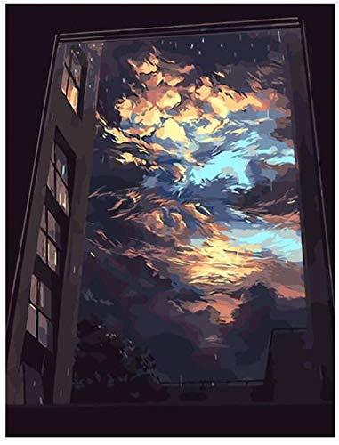 WWDFDD Dipingere con i Numeri Pittura a Olio Digitale Fai da Te Dipinto a Mano Nuvole Scure Fuori dalla Pittura su Tela Windowe per la Decorazione della Parete di casa Arte 40X50Cm