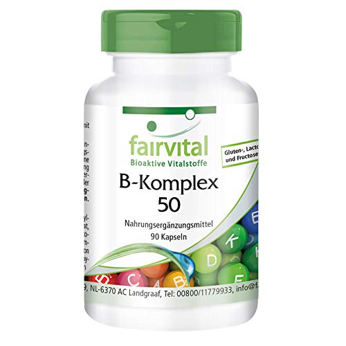 Vitamina B Complex - B-50 - Complejo de vitamina B + Colina e inositol - VEGANO - Dosis elevada - 90 Cápsulas - Calidad Alemana