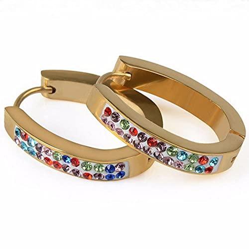 YFZCLYZAXET Pendientes Mujer Pendientes Exquisitos De Moda Pendientes De Acero Inoxidable Pendientes Simples De Cristal Colorido-Cristal De Color Dorado
