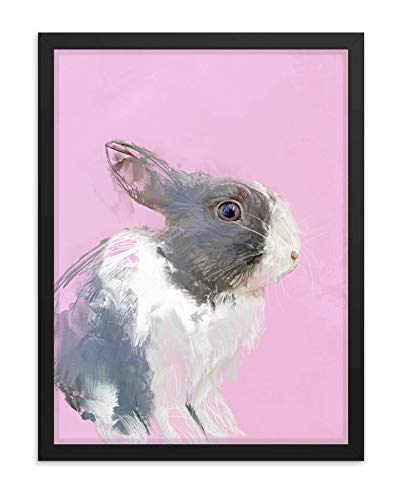 Hilltop Pixel Rabbit Framed Wall Art Print, Beautiful Bunnie Artwork, Pet Animal Home Decor Gift (18Wx24L, Black Frame)