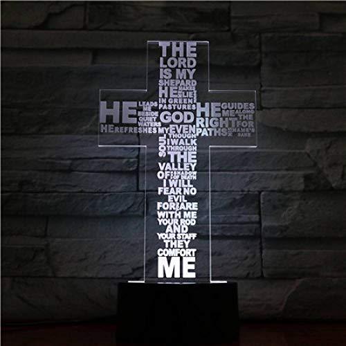 GBBCD Luz nocturna Cristo en forma de cruz usb luz de noche led madre regalos madre creyente lámpara de mesa de escritorio dormitorio luz de neón noche
