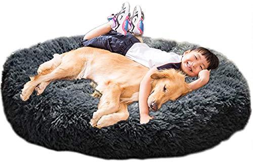 XXL Hundebett Orthopädisch Waschbar Rund Haustierbett für Große Grosse Mittelgroße Hunde XL Hundesofa Antistress Waschbar Kuschelig Hundekissen Memory Foam Hoch Oval Donut Labrador Hundehöhle Grau