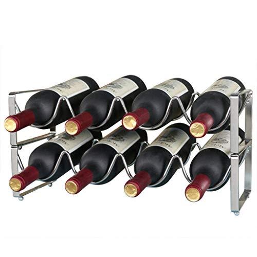 ZKZK Stapelbare Flaschenregal, Aufsatz- Weinhalter - Klassische Art Lagerregal for Bar, Weinkeller, Keller, Schrank, Pantr (Color : Holds 8 Bottles)