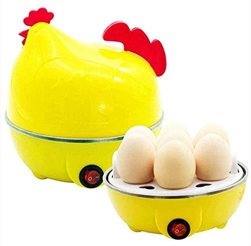 ZXY Elektrischer Eierkocher Egg Cooker Küken Muster Eierkocher Multifunktionsschale für Küche Frühstück Dampf Eier Mais Wachtel Ei,Yellow