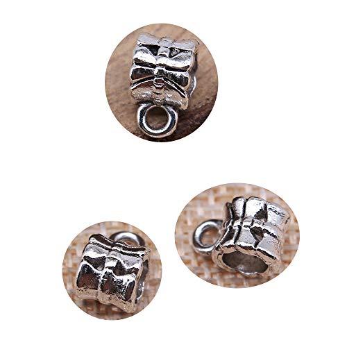 honggui1111-30 cuentas de 10 x 7 mm para hacer joyas DIY collar pulsera de color plata envejecida